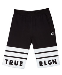 Boys' black cotton logo shorts