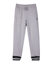 Kids' grey cotton blend joggers