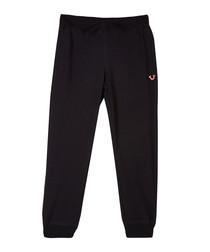 Black cotton blend logo joggers