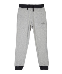 Grey cotton blend logo joggers