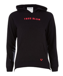 Black & red logo cotton blend hoodie