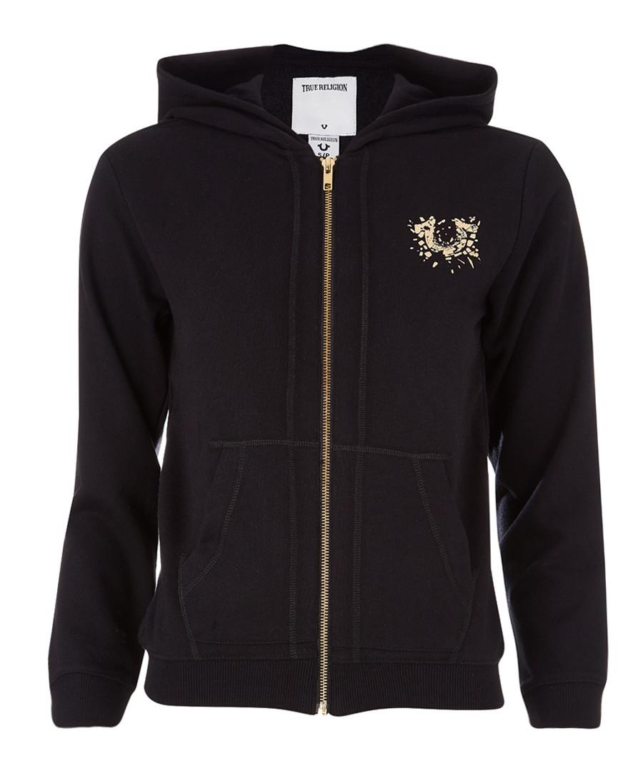 Black cotton blend logo zip-up hoodie Sale - TRUE RELIGION