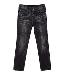 Black creased cotton blend jeans