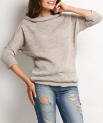 Beige heathered cowl-neck jumper
