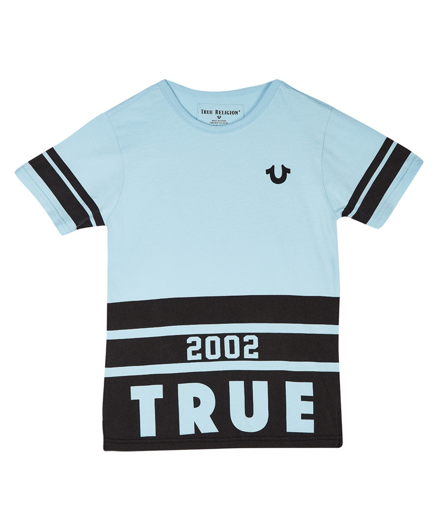 Kids' light blue cotton T-shirt Sale - true religion