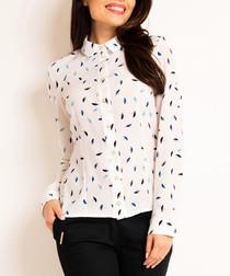 White & blue printed blouse