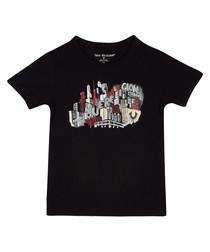 Boys' black cotton T-shirt