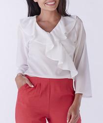 White frill V-neck blouse