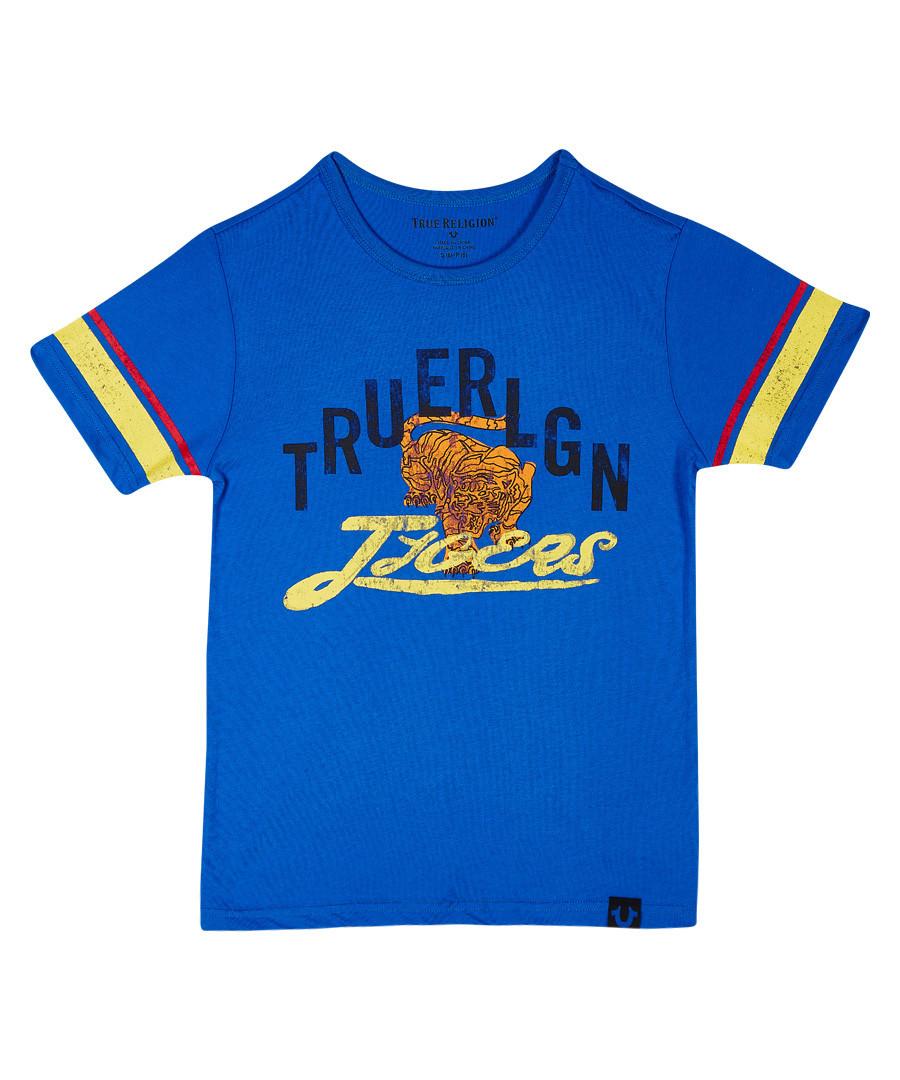 Boys' bright blue cotton T-shirt Sale - TRUE RELIGION