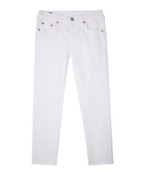 Girls' white cotton jeans