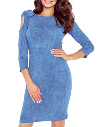 Blue shoulder-tie midi dress