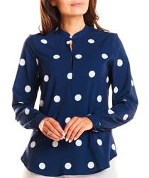 Navy Mandarin collar polka blouse