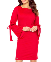 Red flute-sleeve bow dress