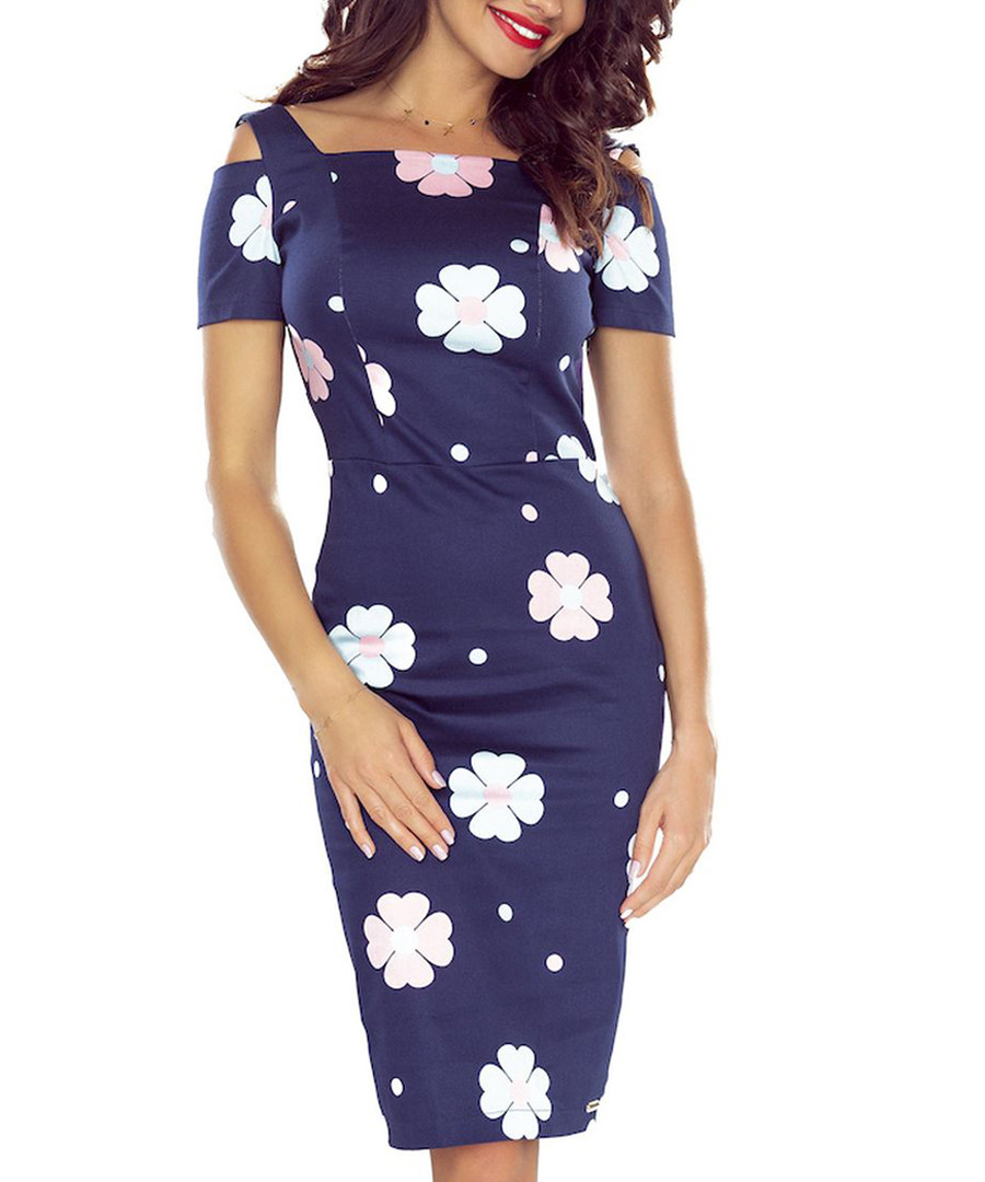 Navy cold-shoulder floral midi dress Sale - bergamo