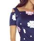 Navy cold-shoulder floral midi dress Sale - bergamo Sale
