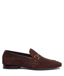 Brown suede horsebit loafers