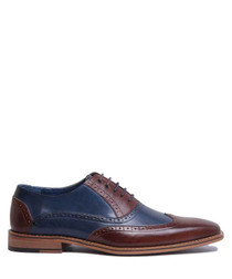 Two-tone leather wingtip brogues
