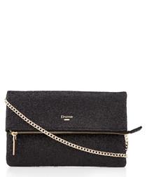 Bex black glitter clutch bag