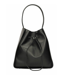 Black leather slouch grab bag