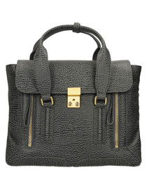 Medium Pashli charcoal leather satchel
