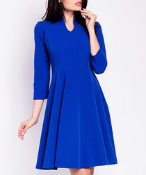 Blue collar detail fit & flare dress