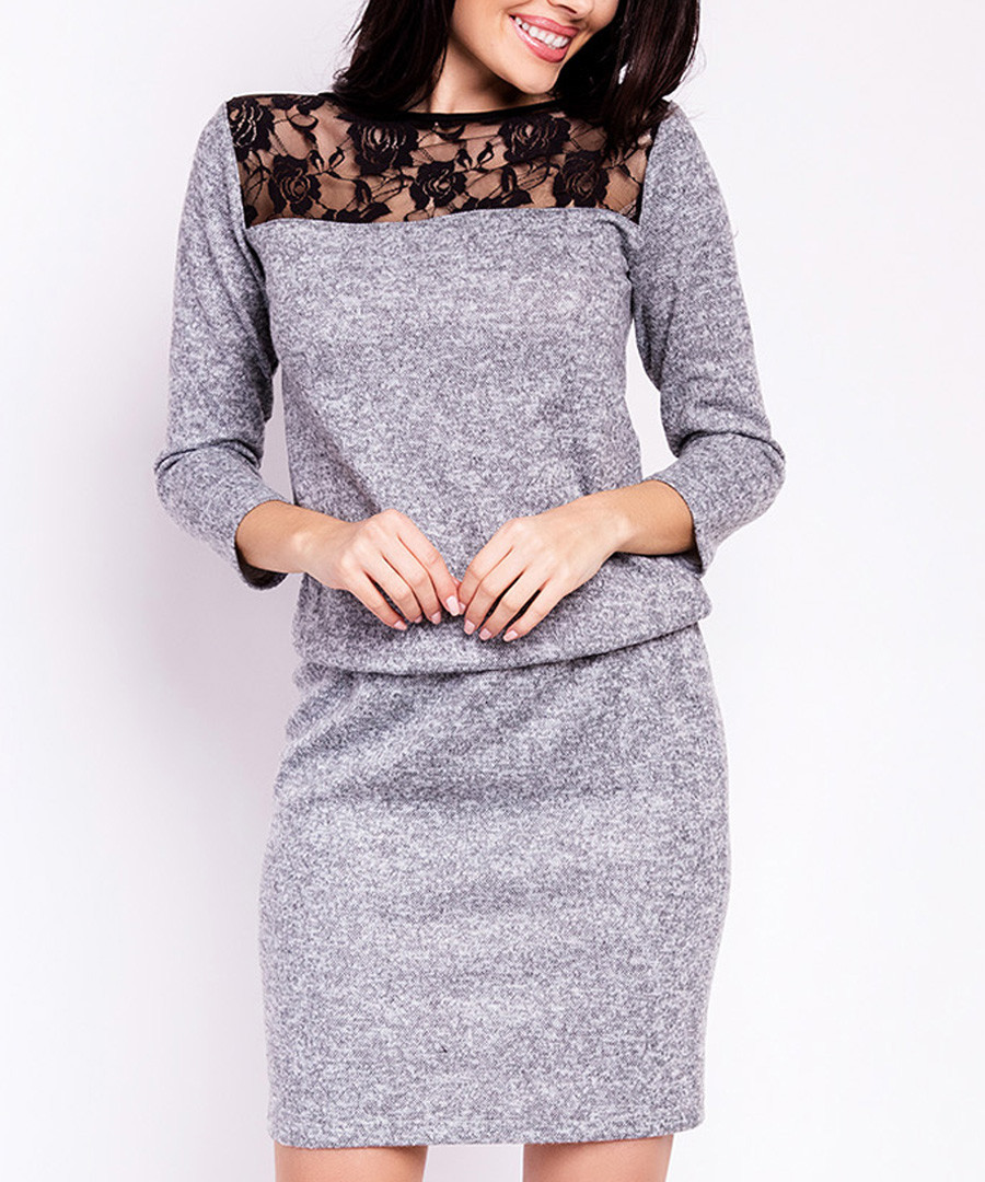Grey lace long-sleeve midi dress Sale - My Favorite Dress