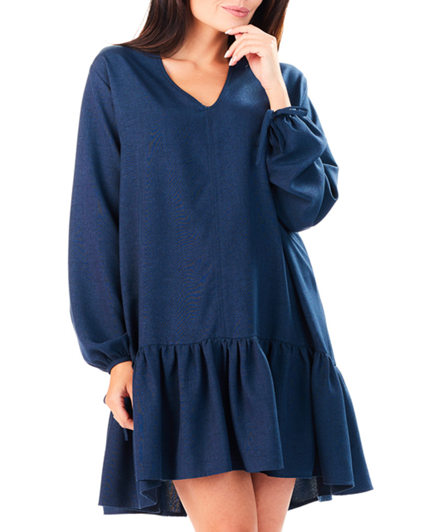 Navy V-neck relaxed fit mini dress Sale - My Favorite Dress