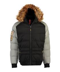 Black padded contrast parka coat