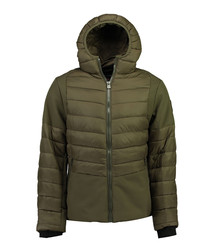 Khaki semi-padded puffer coat