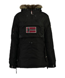 Black flag parka coat