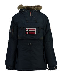 Navy flag parka coat