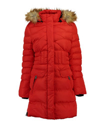 Red long padded parka coat