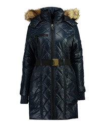 Navy long quilted belt parka