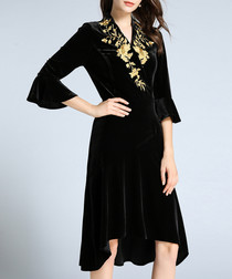 Black floral detail midi dress