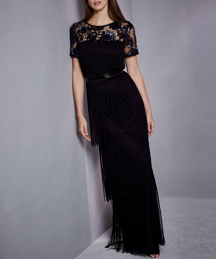 17e9cc95e7 ... Malene black fringe maxi dress Sale - phase eight ...