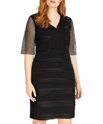 Mindy black sheer midi dress