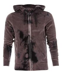 Purple zip-up dye hoodie