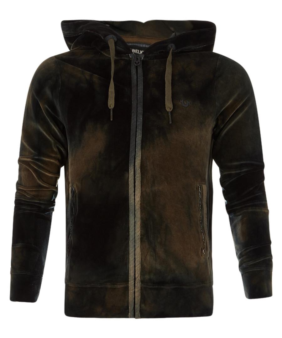Olive zip-up dye effect hoodie Sale - true religion