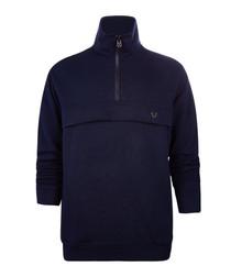 Navy cotton blend half-zip jumper