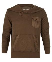 Brown cotton blend pocket hoodie