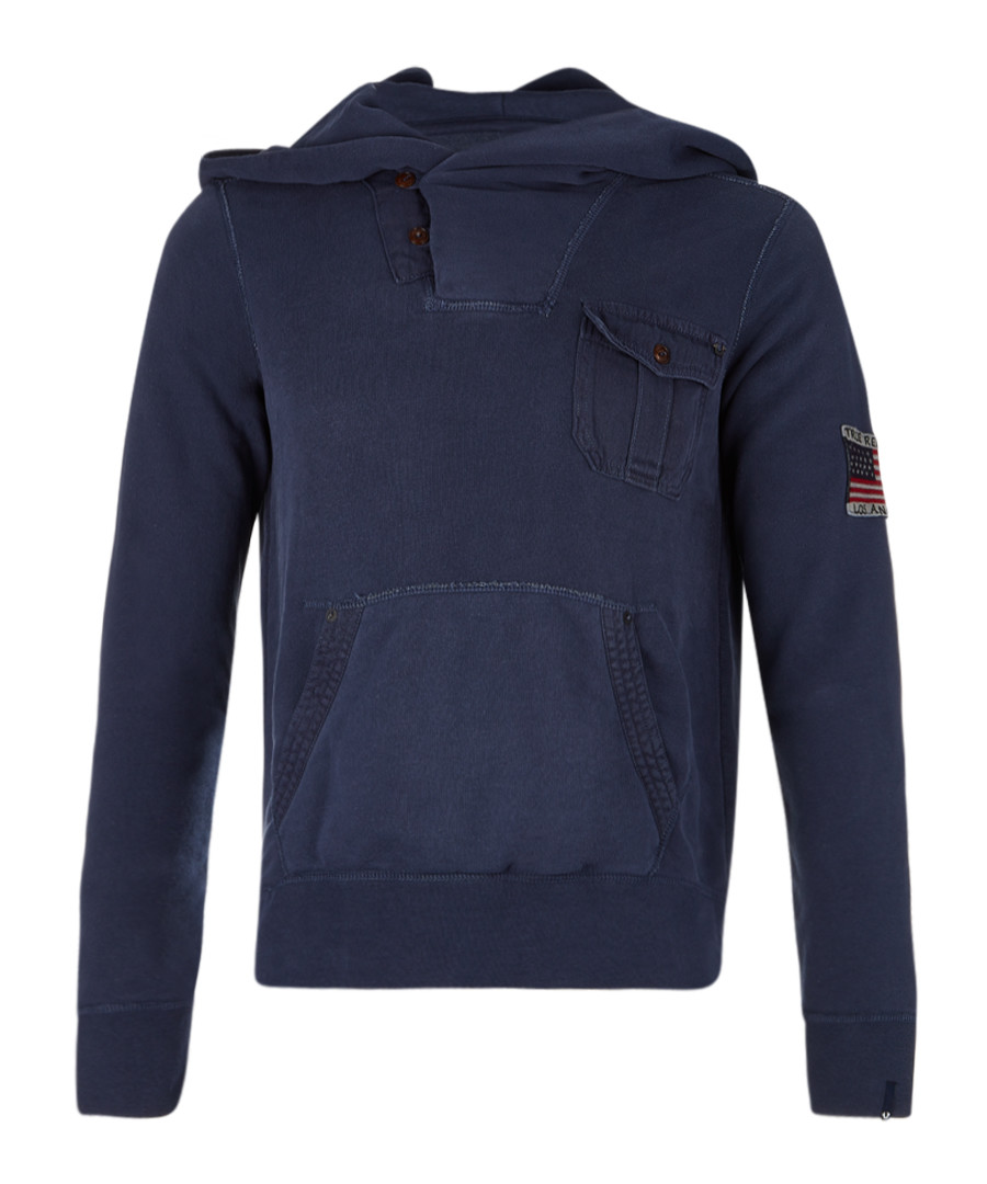 Navy cotton blend pocket hoodie Sale - true religion
