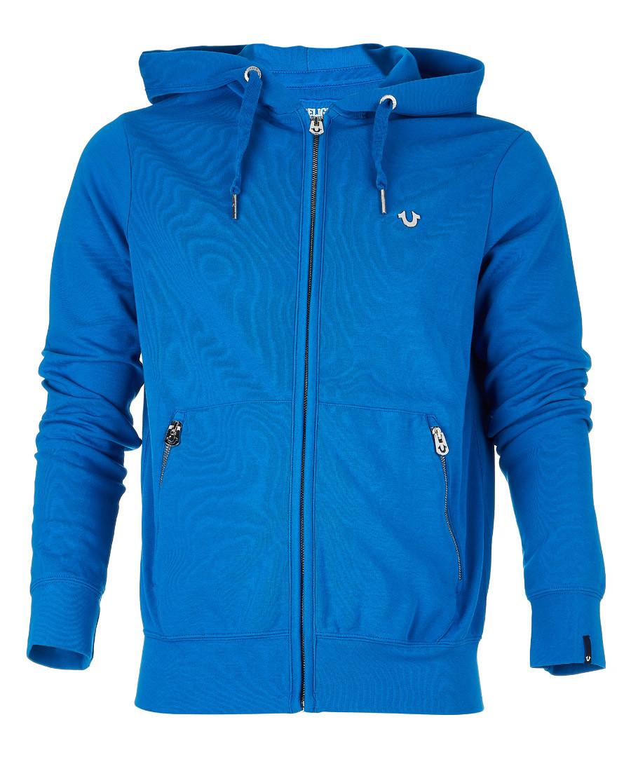 Blue cotton blend zip hoodie Sale - true religion