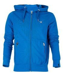 Blue cotton blend zip hoodie