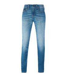 Light blue cotton blend jeans