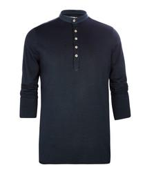Black pure cotton mid-button shirt