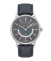 Silver-tone & navy leather watch