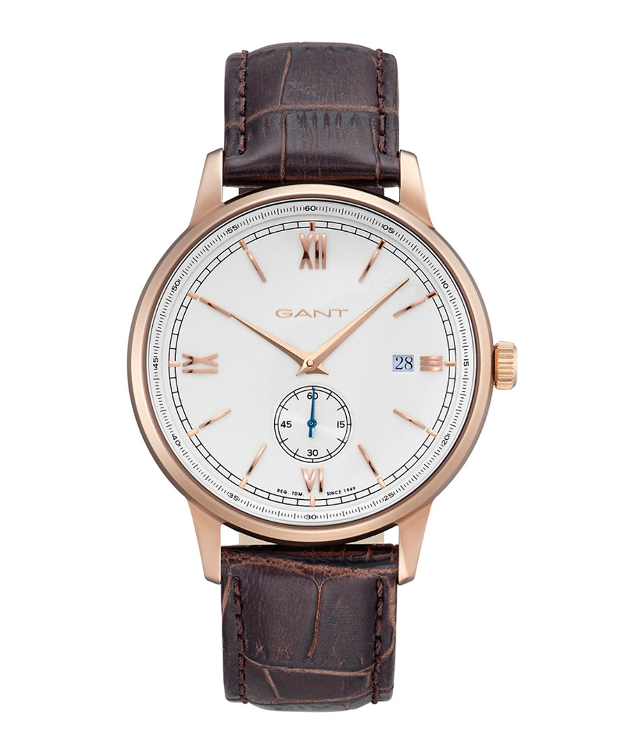 Gold-tone & brown leather watch Sale - gant