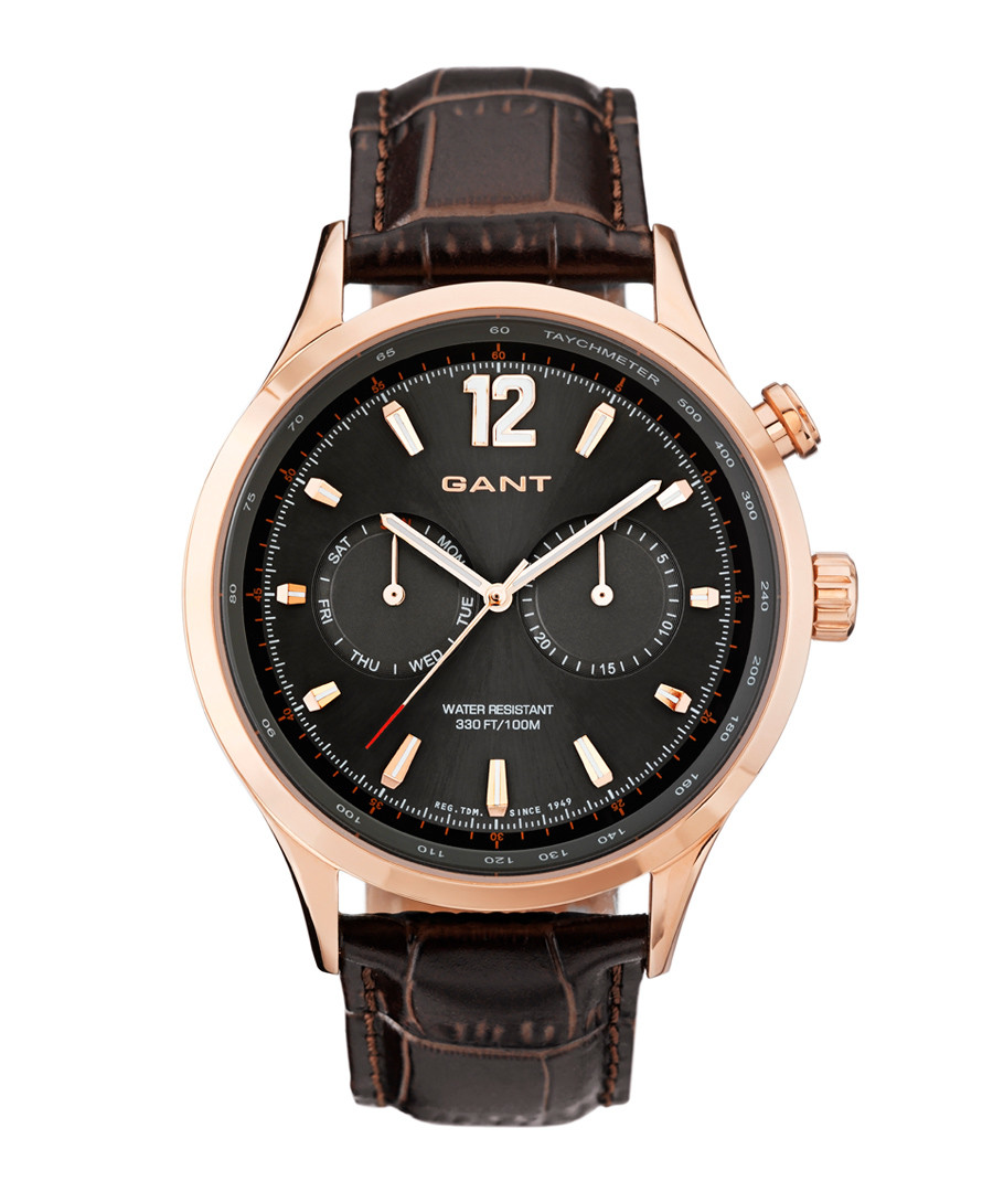 Gold-tone steel & brown leather watch Sale - gant