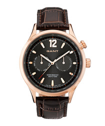 Gold-tone steel & brown leather watch