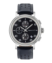 Steel & navy leather chronograph watch